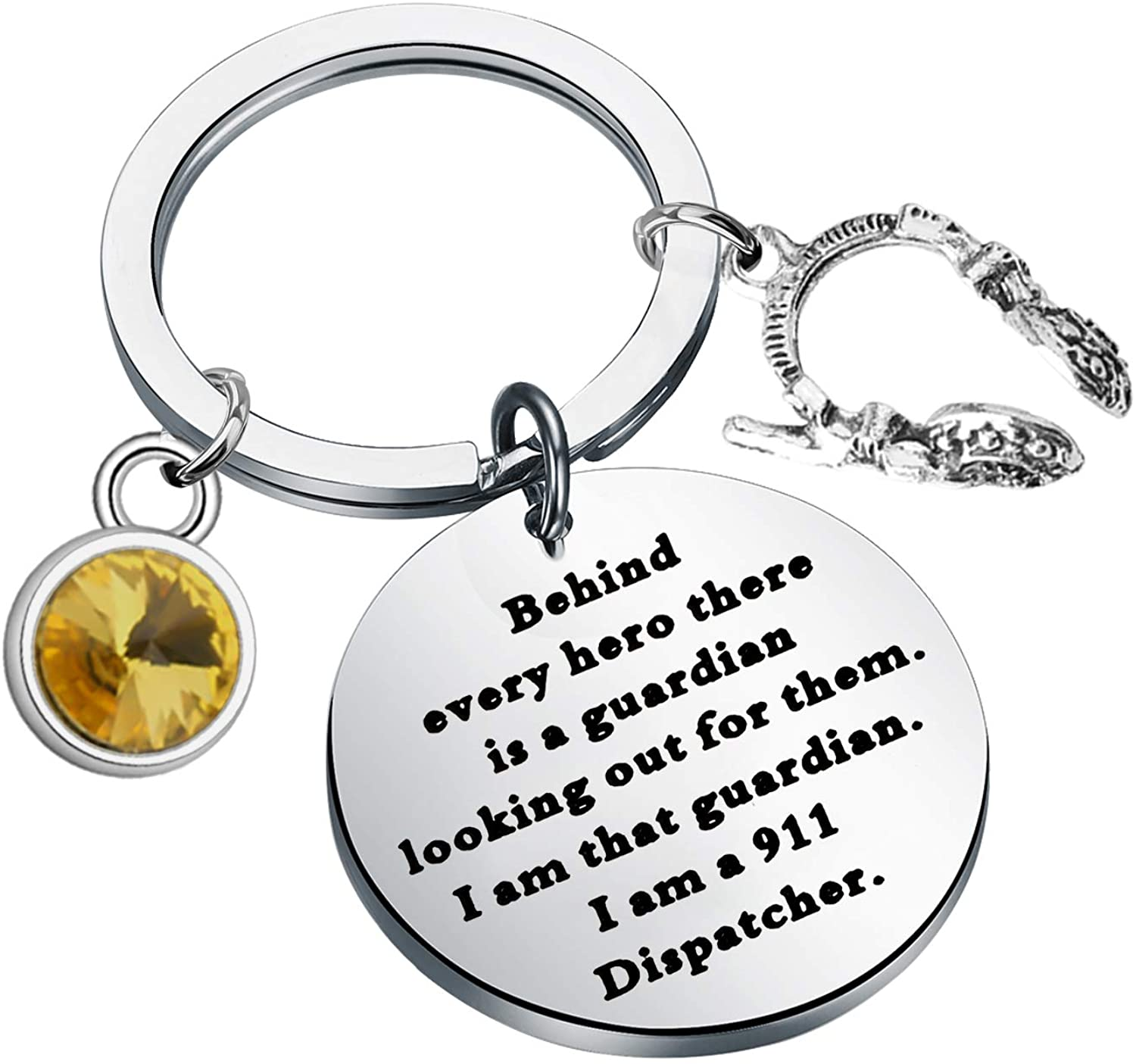 BAUNA 911 Dispatcher Keychain Emergency Operator Thank You Gift Behind Every Hero There is A Guardian Looking Out for Them Thin Yellow Line 911 Dispatcher Gifts