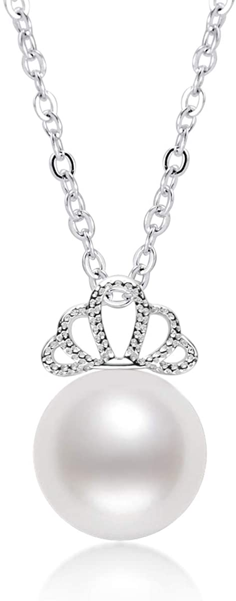 White Pearl Pendant Necklace Freshwater Cultured Pearl Dainty Queens Crown Necklace with Sterling Silver Chain Gifts for Women Girls Wife