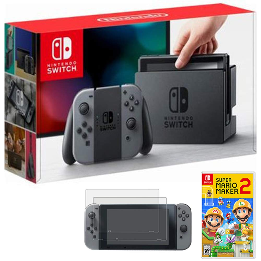 Nintendo Switch 32 GB Console with Gray Joy Con (HACSKAAAA) with Nintendo Super Mario Maker 2 for Switch & Deco Gear Tempered Glass Screen Protector for Nintendo Switch 2017 2 Pack