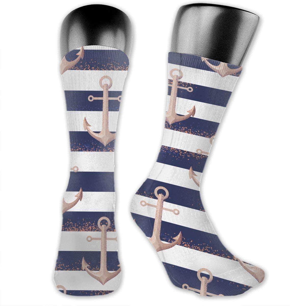 Anchor Nautical Stripe Unisex Outdoor Long Socks Sport Athletic Crew Socks Stockings