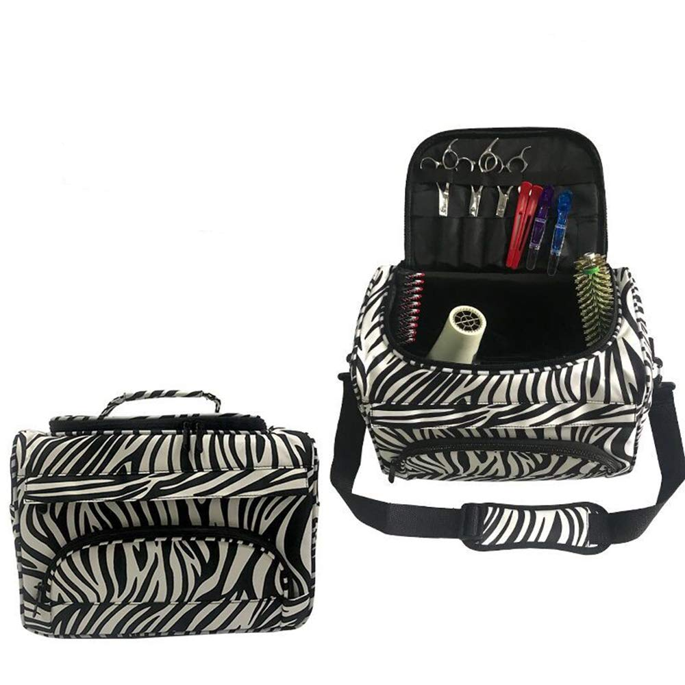 Professional Cosmetics Beauty Hairdressing Styling Bag, Multi-functional Hair Makeup Salon Hairdresser Toiletry Organizer Tool Bag Case Holder Box with Strap for Hair Stylist Shoulder Carrying Zebra