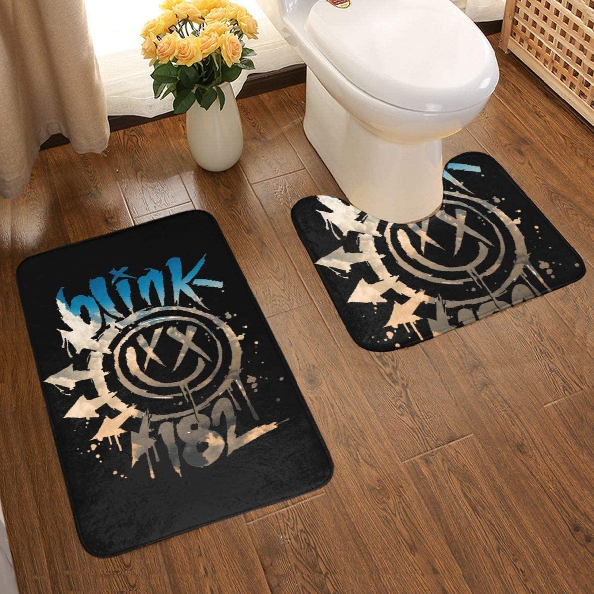 Music Blink-182 Bathroom Rug Mats Set 2 Piece Anti-Skid Pads Bath Mat + Contour Bathroom Antiskid Pad One Size