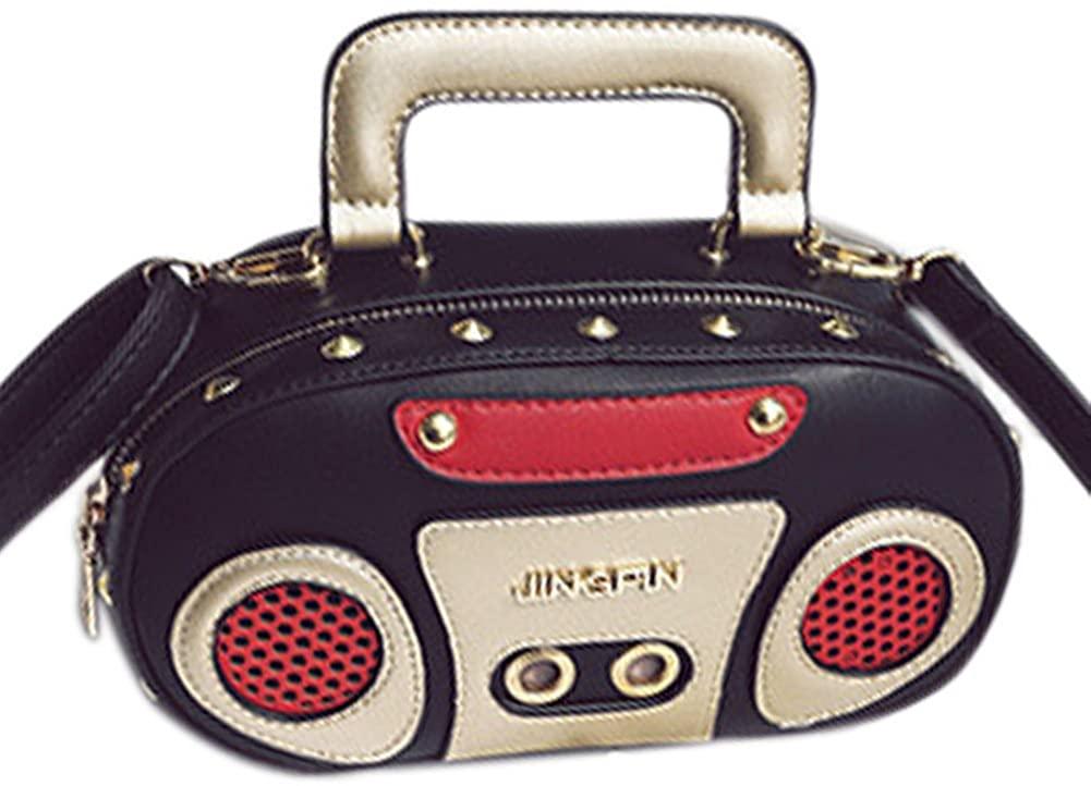 QZUnique Women's Elegant Tape Recorder Radio Shaped Shoulder Bag Clutch Crossbody Bag Purse Handbag