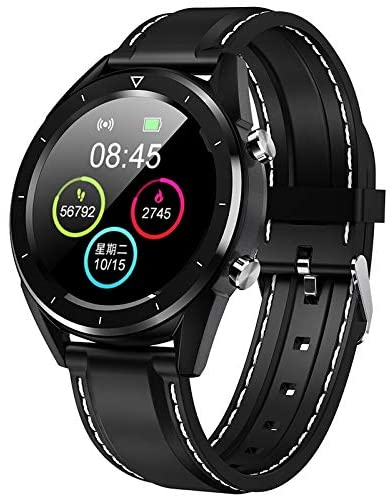 NO.1 DT28 Smart Watch 1.54 inch Nordic NRF52832 64KB RAM 512KB ROM Heart Rate Monitor Step Count Sedentary Reminder IP68 Built-in 230mAh for Andriod iOS Phones (Black+Silicone Strip)