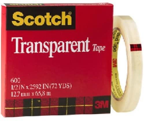 3M Scotch Transparent Tape, 1/2