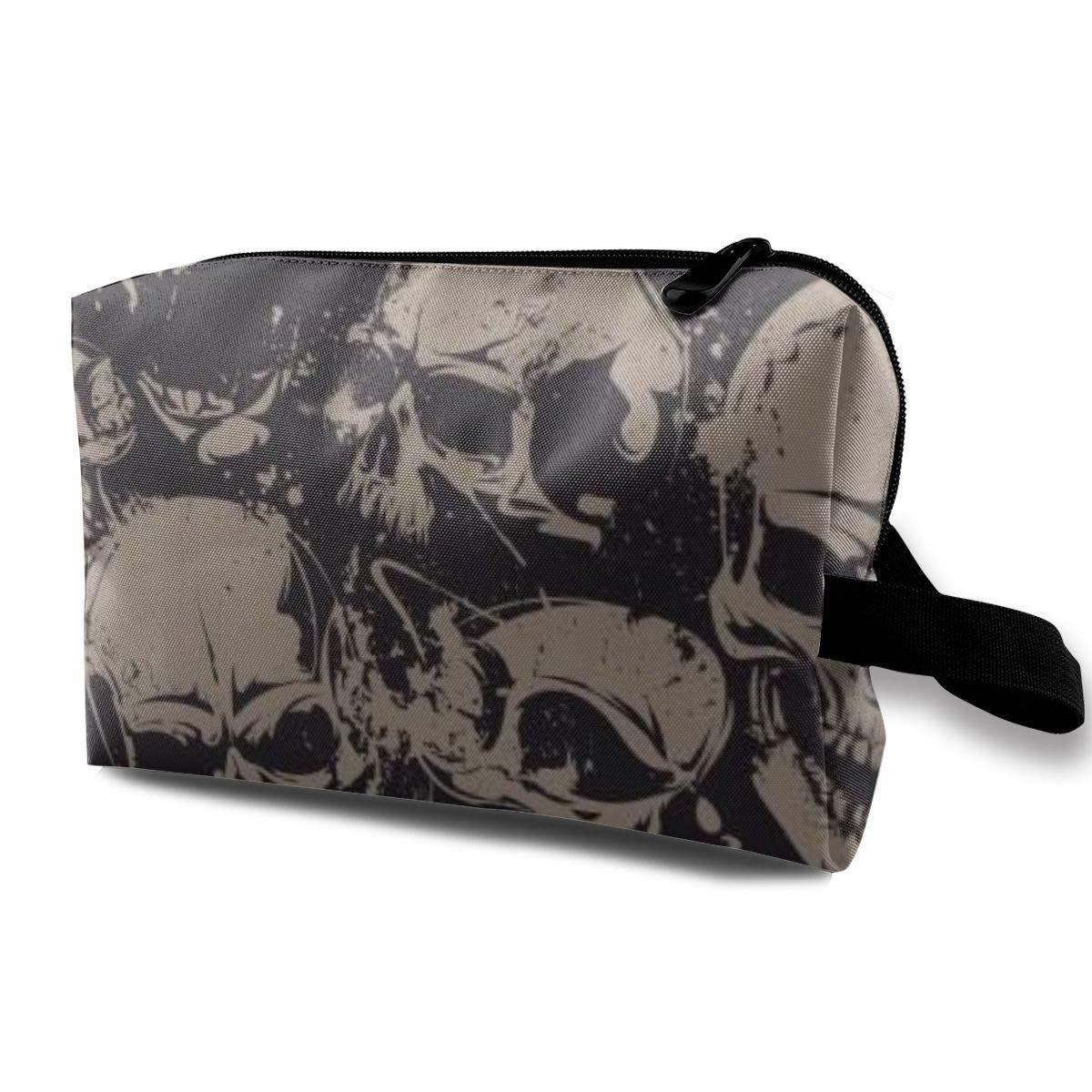 Makeup Bag Cosmetic Pouch Grunge Pattern With Skulls Multi-Functional Bag Travel Kit Storage Bag