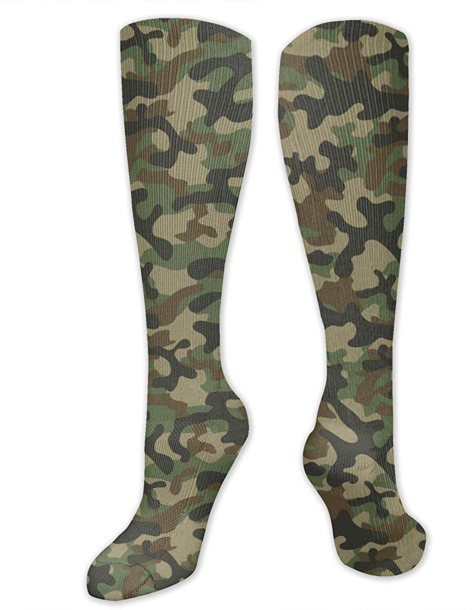 Texture Military Camouflage Army Green Athletic Socks Thigh Stockings Over Knee Leg High Socks
