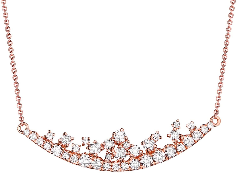 Prism Jewel 0.75Ct Natural White Diamond Curved Designer Necklace In 14k Rose Gold