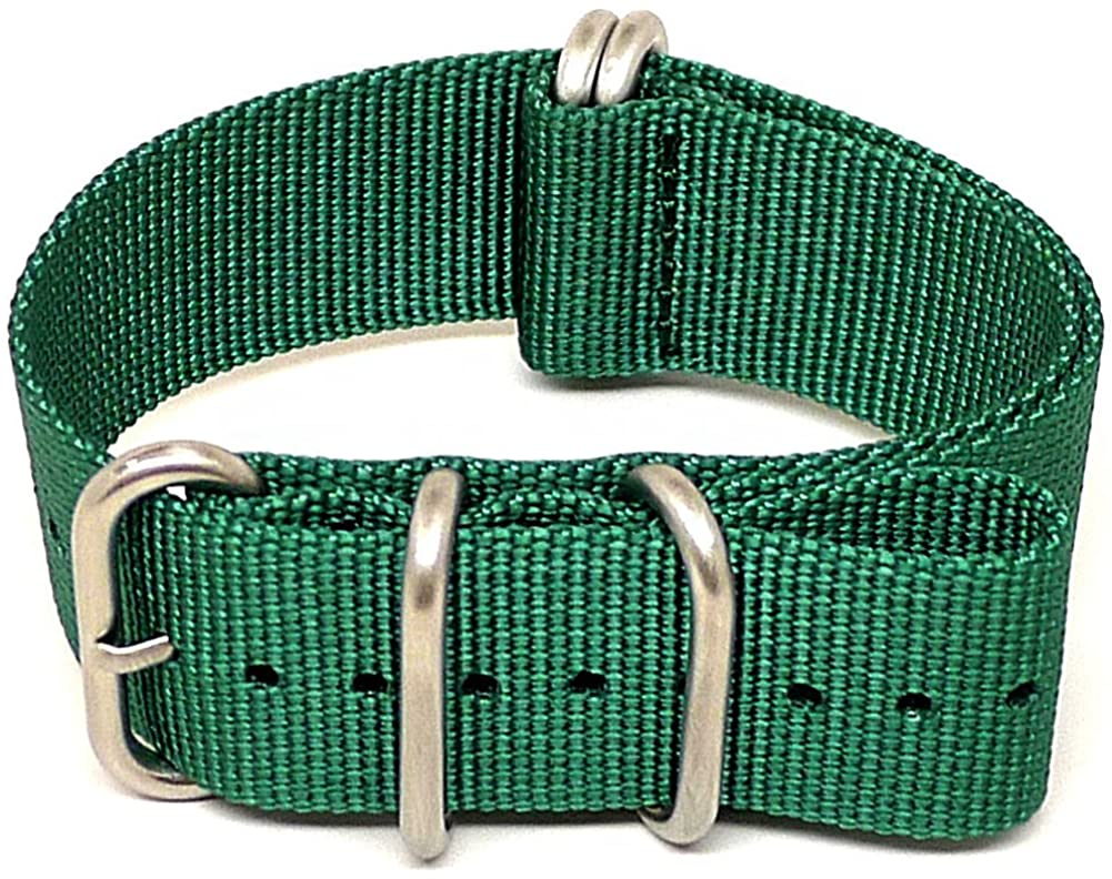DaLuca Ballistic Nylon Military Watch Strap - Green (Matte Buckle) : 22mm