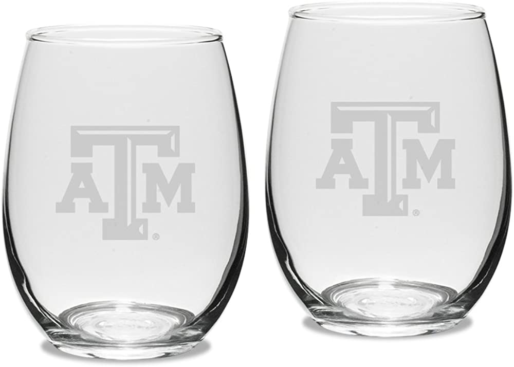 University Glass NCAA Texas A&M Aggies Adult Set of 2 - 15 oz Stemless Wine Glass Deep Etched Engraved, One Size, Clear