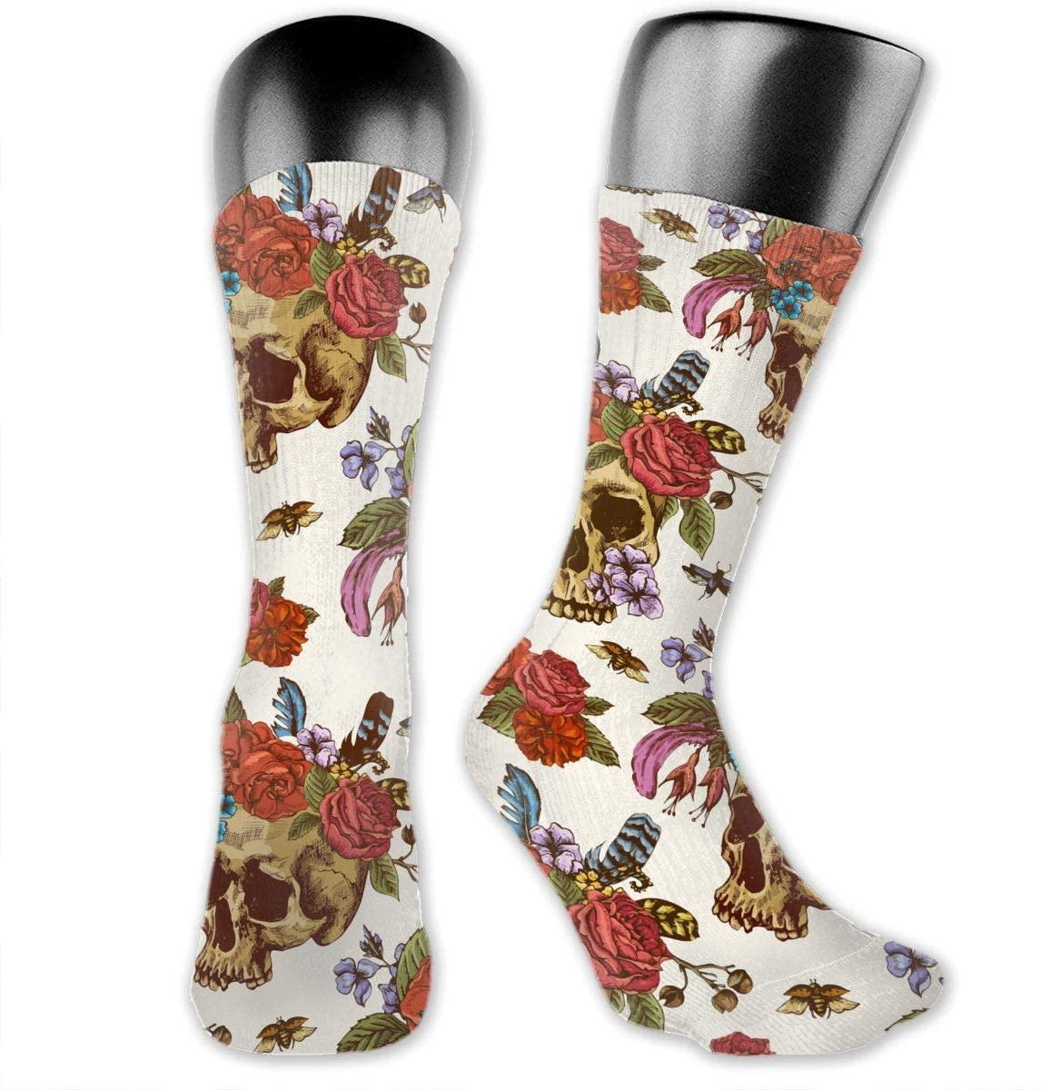 Skull Flowers Head Unisex Outdoor Long Socks Sport Athletic Crew Socks Stockings