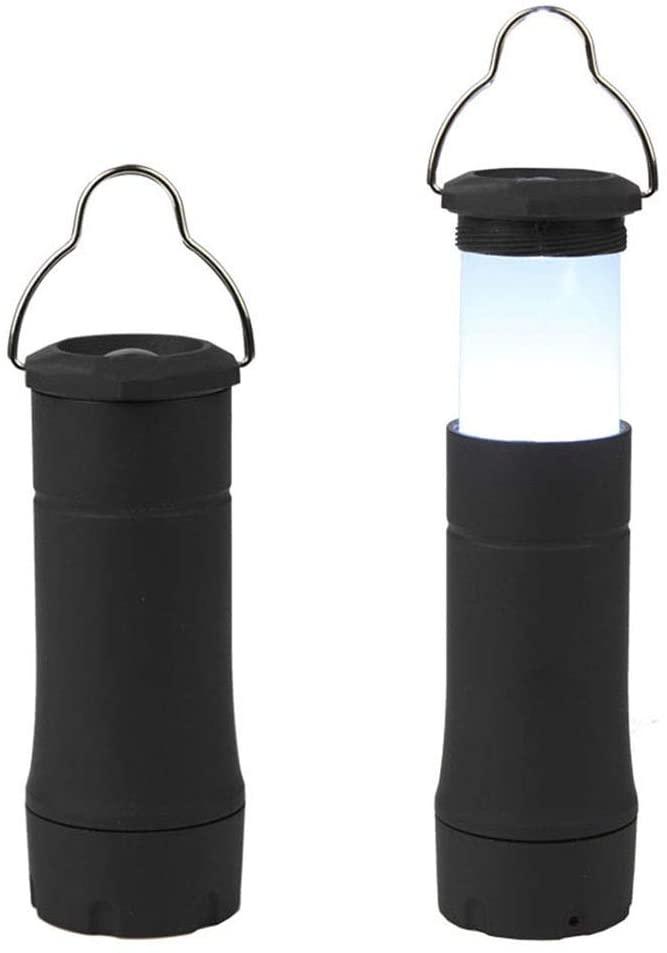 Flashlight,Outdoor 2 In 1 Glare Camping Light Tent Light Portable Telescopic Flashlight Field Camping Light Horse Lamp 4.5V Hanging Hook For Field Emergency Camping (Color : Black)