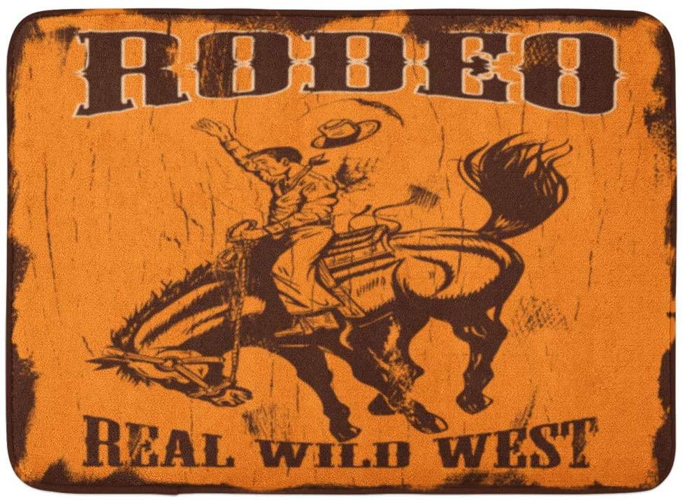 Emvency Doormats Bath Rugs Outdoor/Indoor Door Mat Cowboy Man Riding Bucking Bronco Text Rodeo and Real Wild West on Wooden Sign Western Bathroom Decor Rug Bath Mat 16