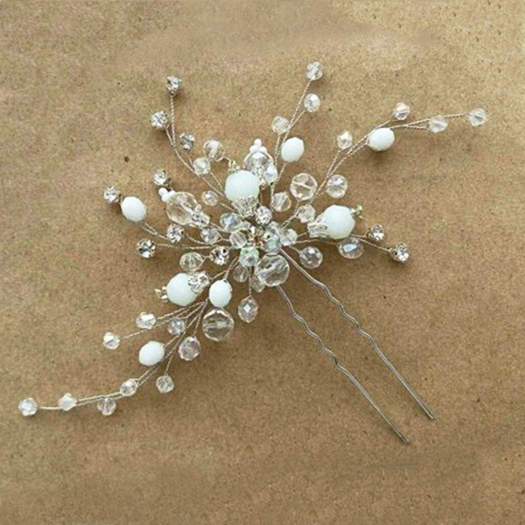 Victray Bride Wedding Rhinestone Hair Pins Bridal Flower Hair Pieces Hair Accessories for Women and Girls