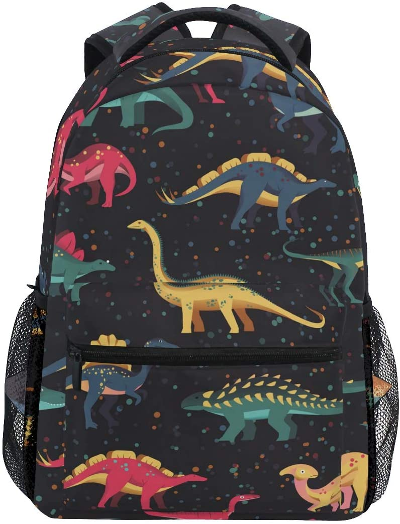 Aflyko Colorful Dinosaur School Bookbag Laptop Backpack Travel Hiking Daypack for Teens 16 x 11.4 x 6.9 Inch