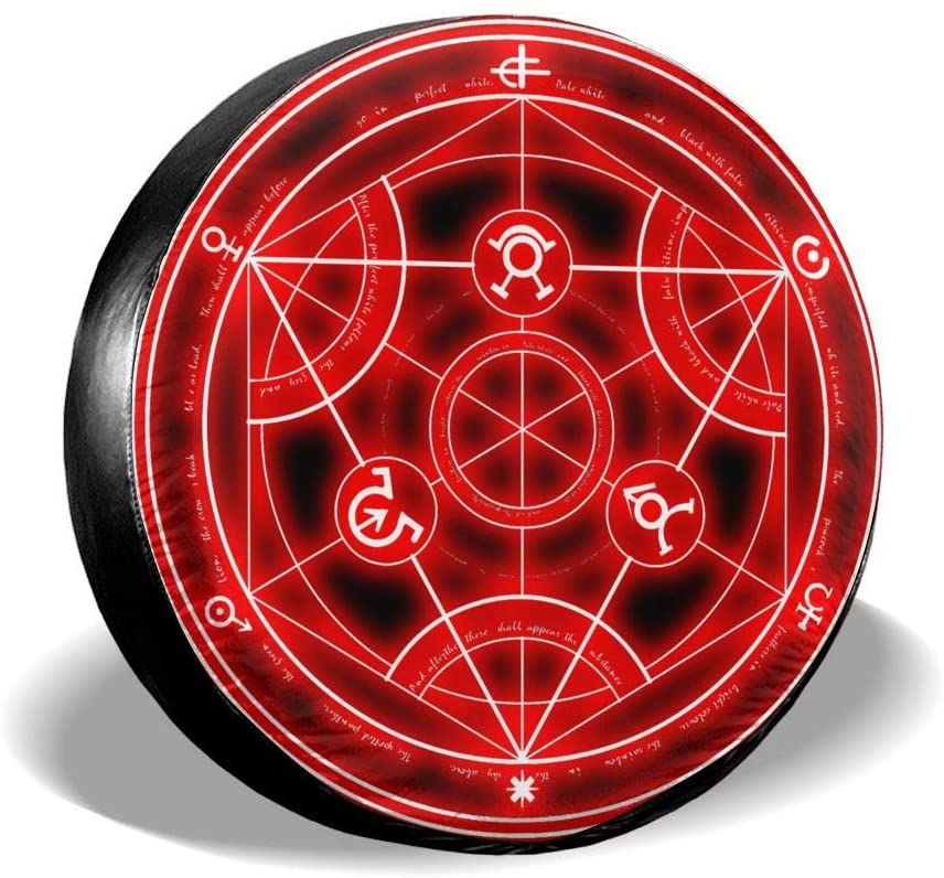 Liuqidong Fullmetal Alchemist Suitable for Jeep, Trailer, Rv, SUV, Truck and Many Vehicles, 14 15 16 17 Inch Wheel Cover Water-Proof Dust-Proof Sun Protection