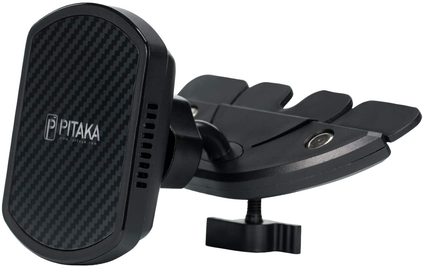 PITAKA Magnetic Wireless Charging CD Slot Car Mount Premium Luxury 360 Degree Rotation Fast Charging Phone Holder with USB A-C Cable CD Slot Mount for Qi Smartphones