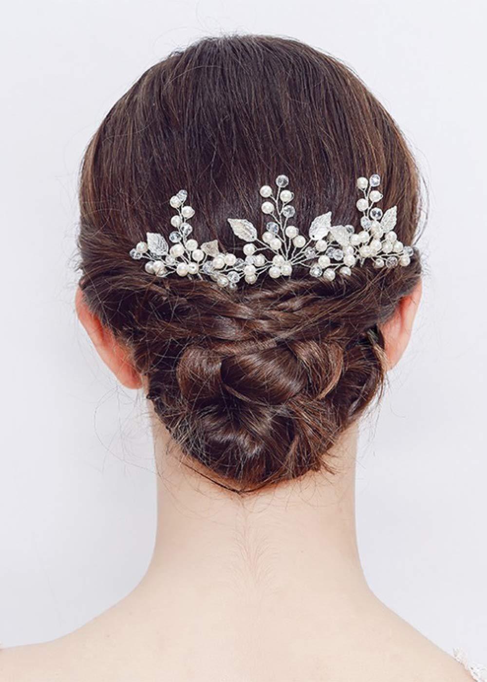 Deniferymakeup Leaf Crystal Bridal Hair Piece Pearl Wedding Hair Pins Crystal Hair Pins Bride Hair Accessories Bridesmaid Hair Accessories (Set of 3) (Silver)