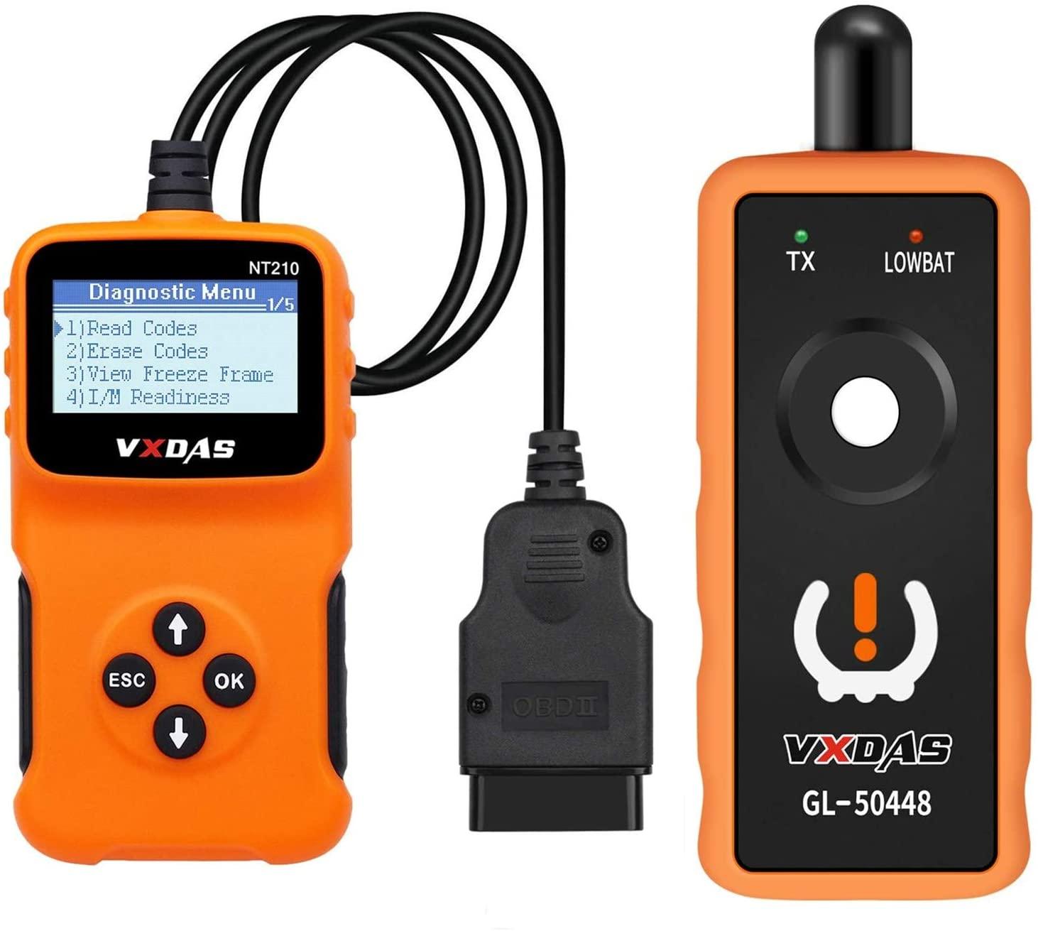Arozk Bundled Goods of NT210 Universal OBD2 Scanner Code Reader Car Automotive Engine Light Error Diagnostic Scan Tool & OEC-T5 GL 50448 GM TPMS Sensor Relearn Reset Tool