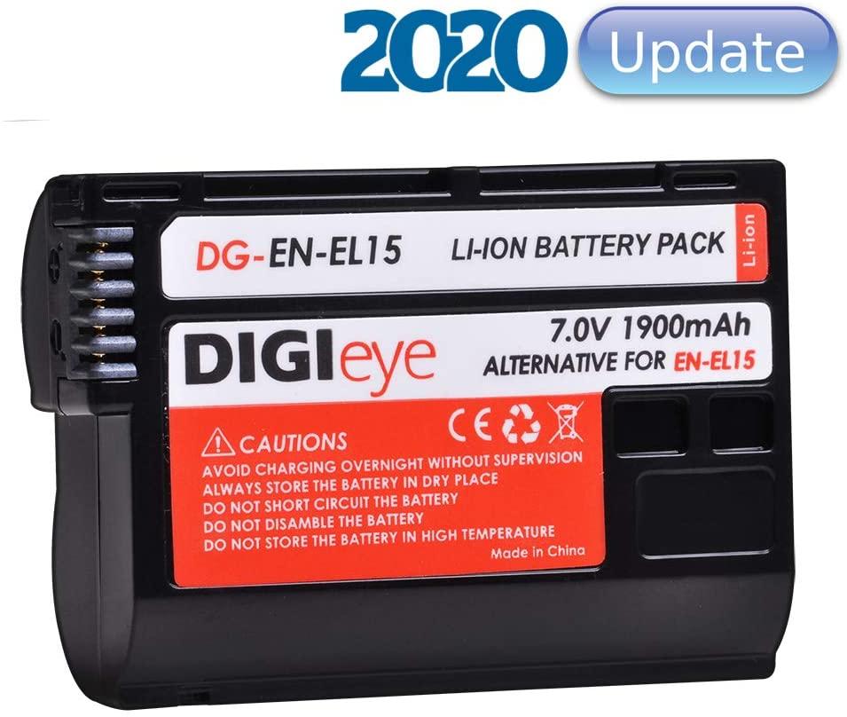 EN-EL15/EN-EL15a 1900mAh Replacement Battery Compatible with Nikon Z6, Z7, D850, D810, D810A, D800, D800E, D7500, D7200, D7100, D7000, D750, D810, D610, D600,1v1 Cameras