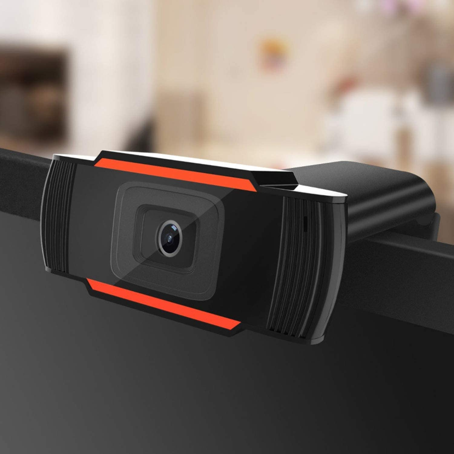 Webcam Streaming HD with Dual Microphone and Ring Light, Aoboco USB Pro Web Camera Stream for Mac Windows Laptop Twitch Xbox One Skype YouTube OBS Xsplit (Orange)