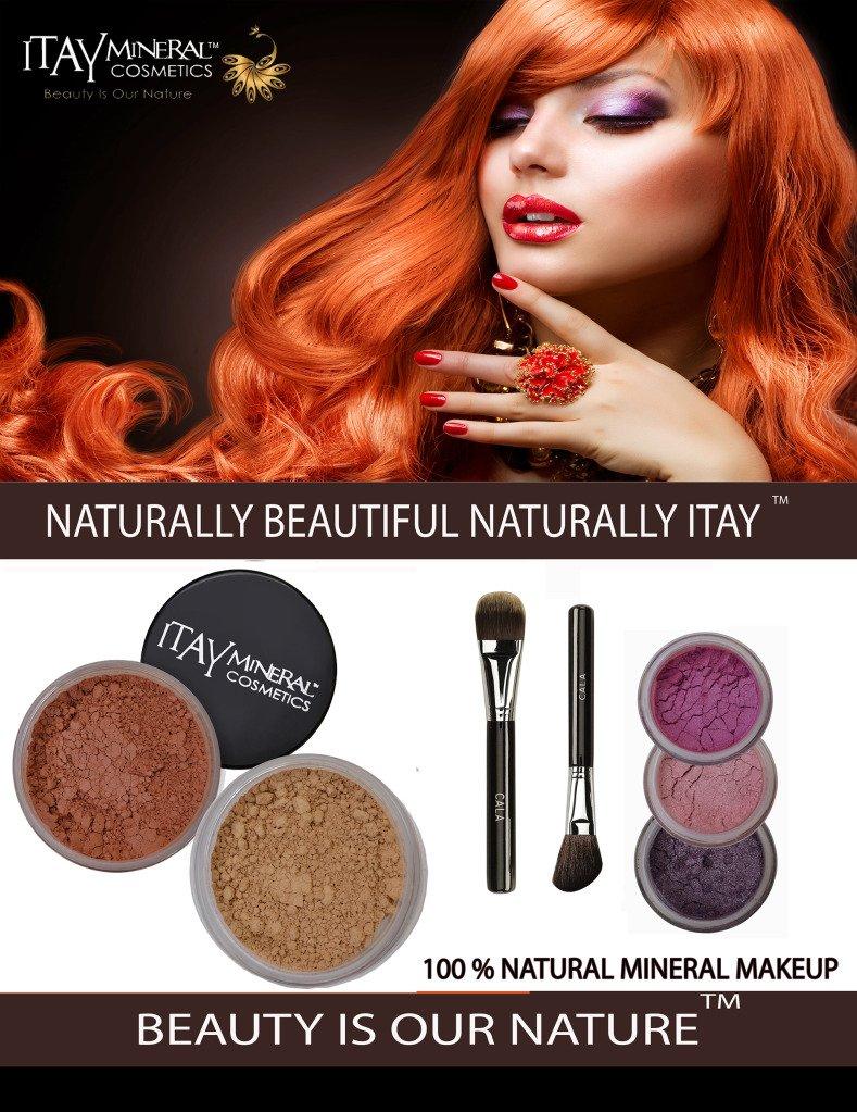 ITAY Mineral Luxury Kit Light SPF15 Foundation MF3+ Blush Mb6 + 3 Eye Shimmers + Moisturizer + 2 Cala Brushes