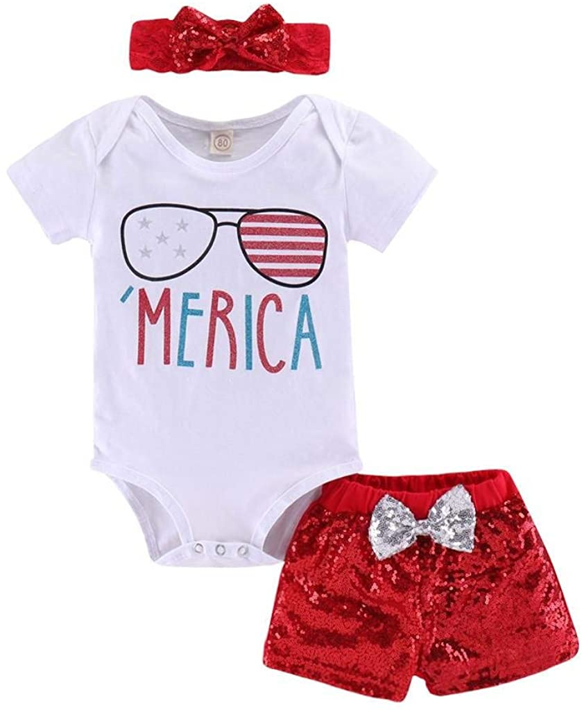 terbklf Newborn Infant Baby Girl 4th of July Stars Stripe Patriotic Romper Shorts Outfits Independence Day Casual Wear