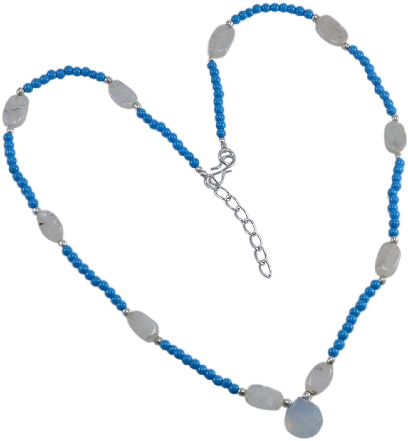Saamarth Impex Wholesale- Handmade Jewelry Manufacturer Chalcedony, Turquoise & Quartz- 925 Silver Plated- Jaipur Rajasthan India Rolo-Chain- Necklace