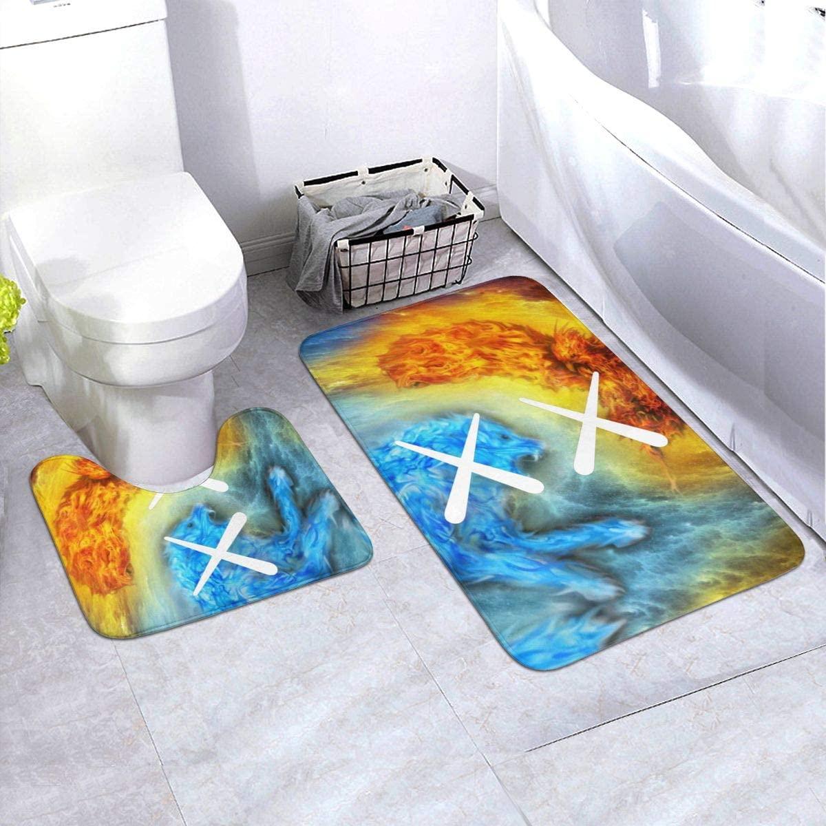 KAWS Bathroom Rug Mats Set 3 Piece Anti-Skid Pads Bath Mat + Contour + Toilet Lid Cover Bathroom Antiskid Pad 19.5in X 31.5in