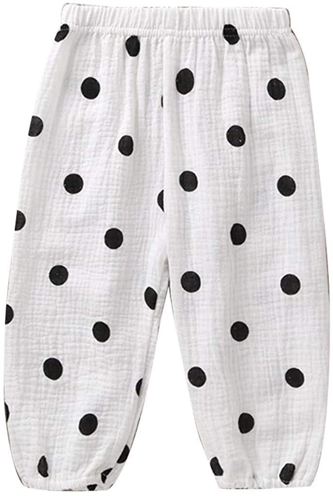 minansostey Children Anti-Mosquito Long Pants Boy Girl Cotton Loose Trouser Infant Bloomer