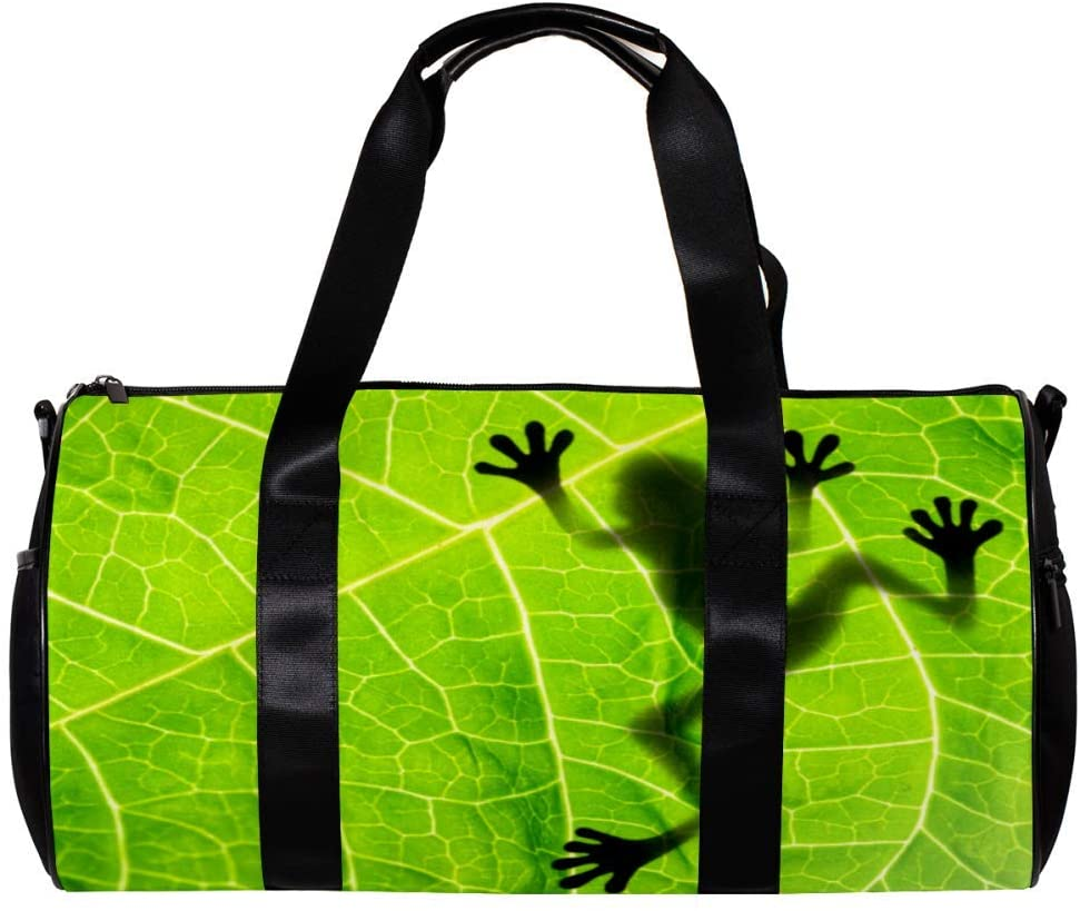 imobaby Duffel Gym Bag Frog Shadow On The LeafSports Travel Shoulder Bags Tote for Men and Women