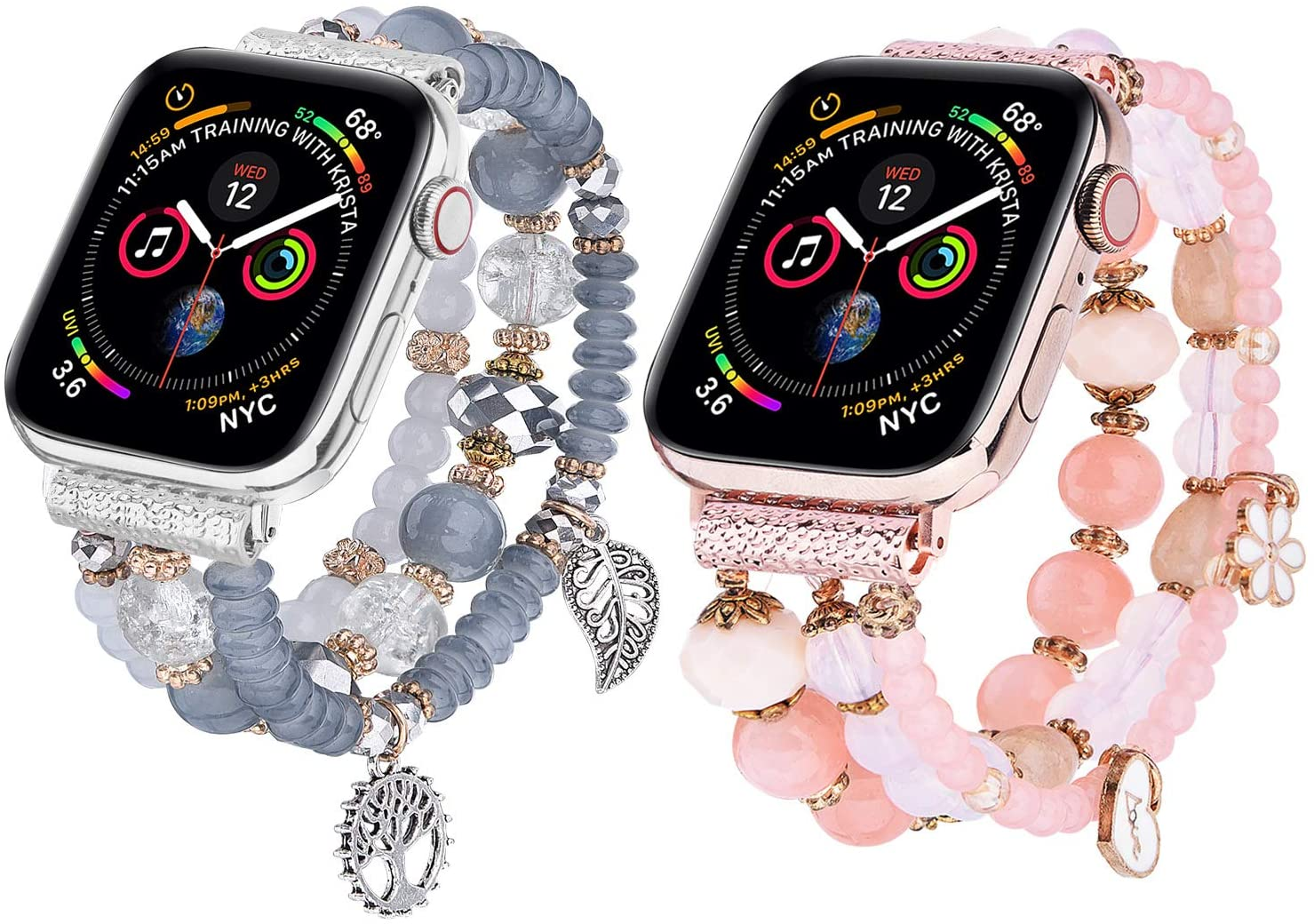 V-MORO Bracelet Compatible with Series 5 Apple Watch Bands 44mm/42mm Women Fashion Handmade Elastic Stretch Beads Strap Replacement for iWatch Series 4/3/2/1 42mm/44mm Girls Blue Pink