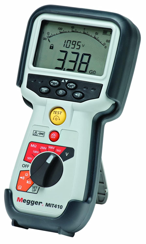 Megger MIT410-ENTCAL Insulation Tester, 100 G Ohm Resistance, 50V, 100V, 250V, 500V, 1000V Test Voltage with a NIST-Traceable Calibration Certificate with Data