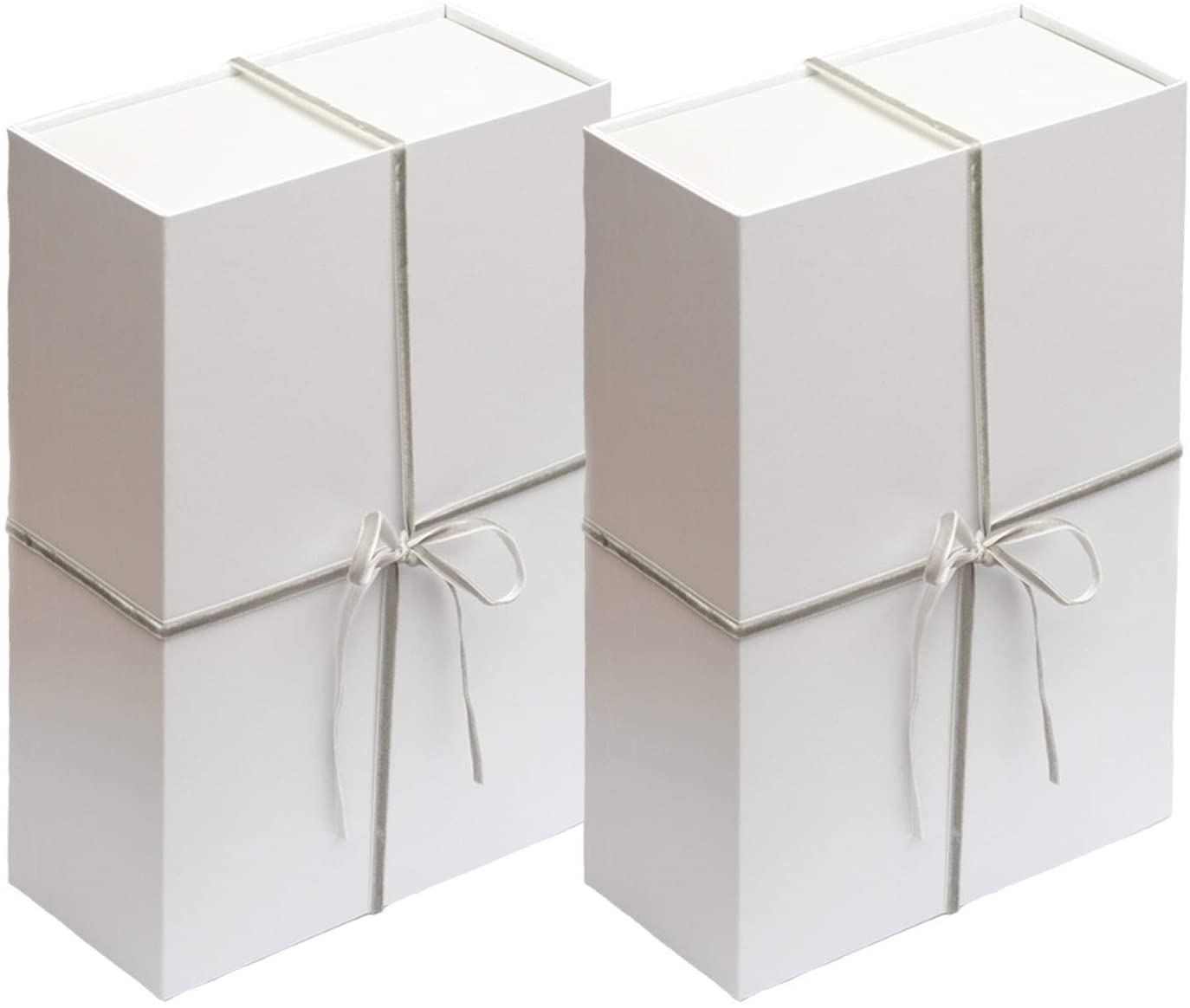 Your Gatherings - 2 Pack Gift Boxes with Magnetic Closure - Collapsible Box Set Include Tissue Paper and Velvet Ribbons, Box Folds Flat for Birthday, Wedding, Baby Shower Gifts (12x8x4, White/Grey)