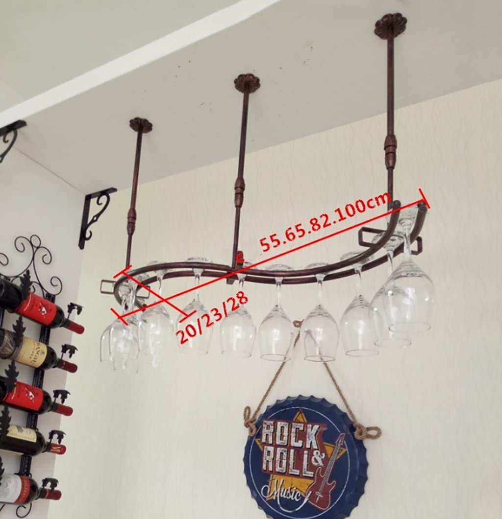 Logo Suspension Hanging Wine Glasses Holder Goblet Shelf,Wine Stemware Rack Red Wine Cup Holder Hanging Upside Down Goblet Holder for Home Kitchen Bar,Wrought Iron (Color : White, Size : 6520cm)