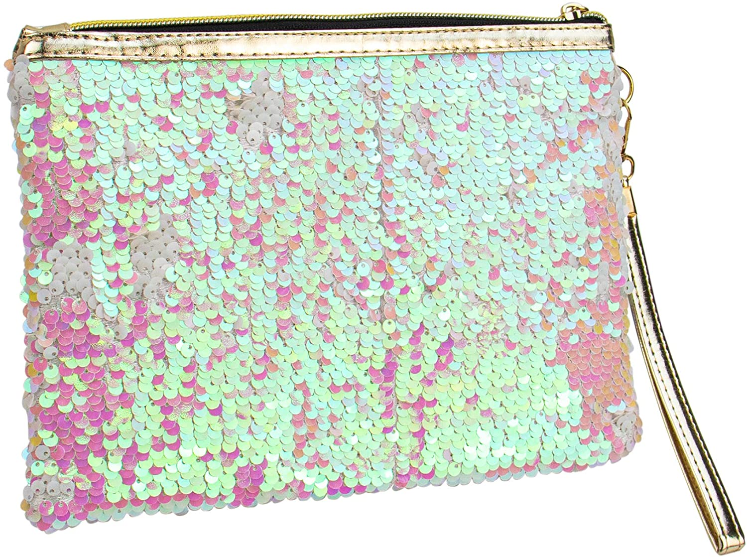 AUEAR, Sequin Makeup Bag Envelope Type Travel Portable Bag with Zipper for Women and Girls Pink