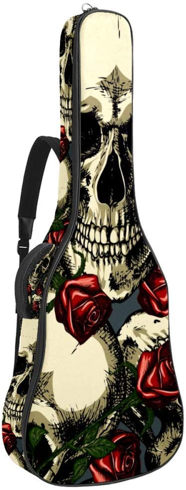 Skulls With Red Roses Pattern Acoustic Guitar Bag with Padded Handle Shoulder Strap 2 Pockets