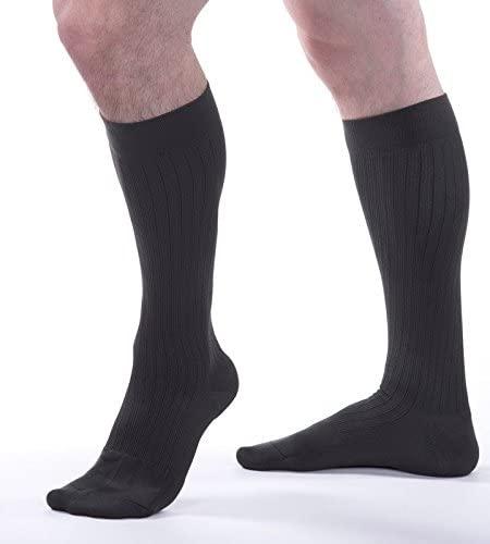 Allegro Men's 15-20 mmHg Premium 108 Microfiber Cotton Support Sock (Gray) Medium