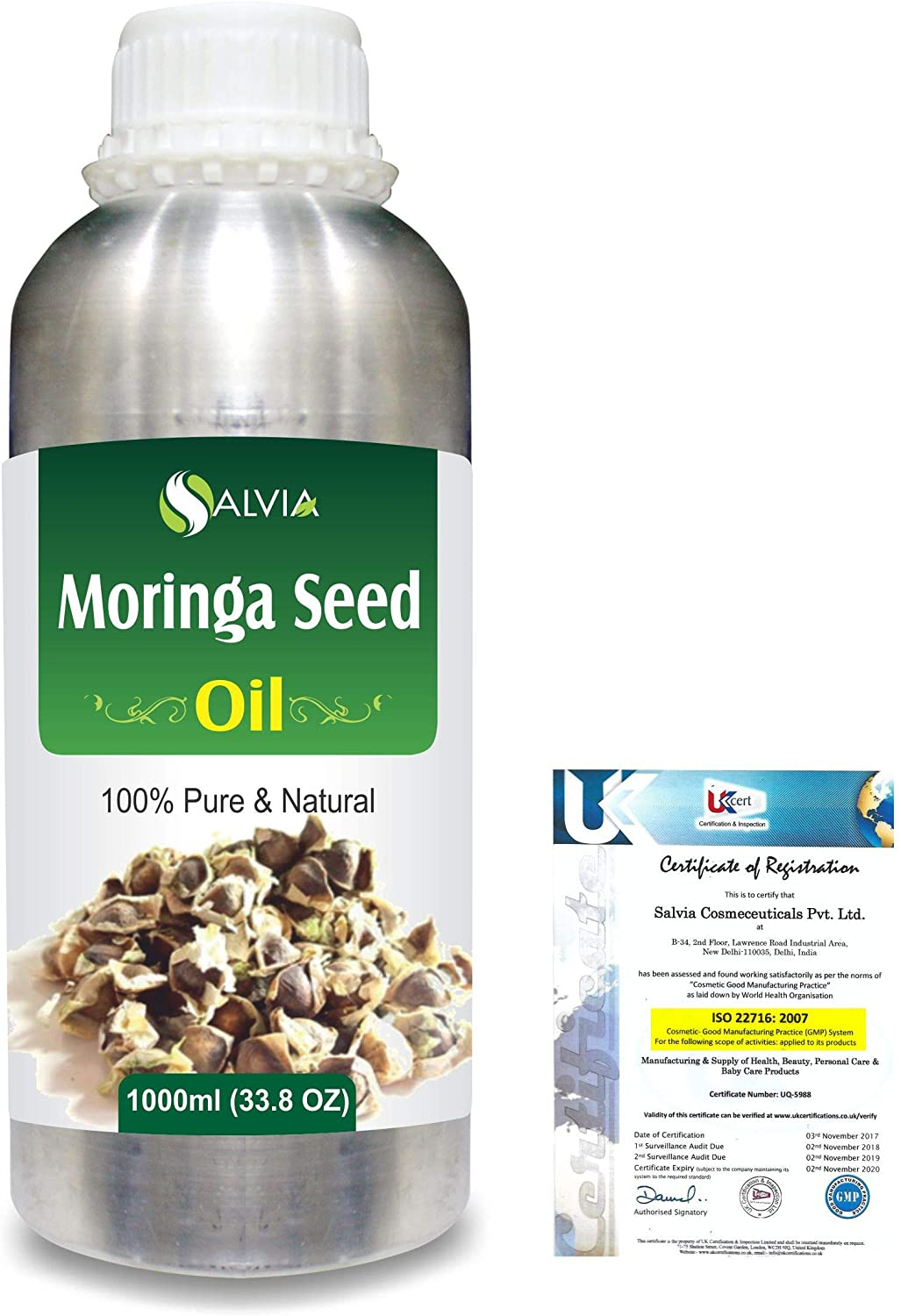 Moringa Seed (Moringa-Oleifera) Pure Natural Aromatherapy Therapeutic Uncut Undiluted Carrier Oil 1000ml Express Shipping