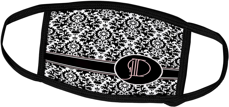 3dRose Uta Naumann Personal Monogram Initials - Letter D Personal Monogrammed Damask Pattern-Personalized Initial - Face Masks (fm_275172_2)
