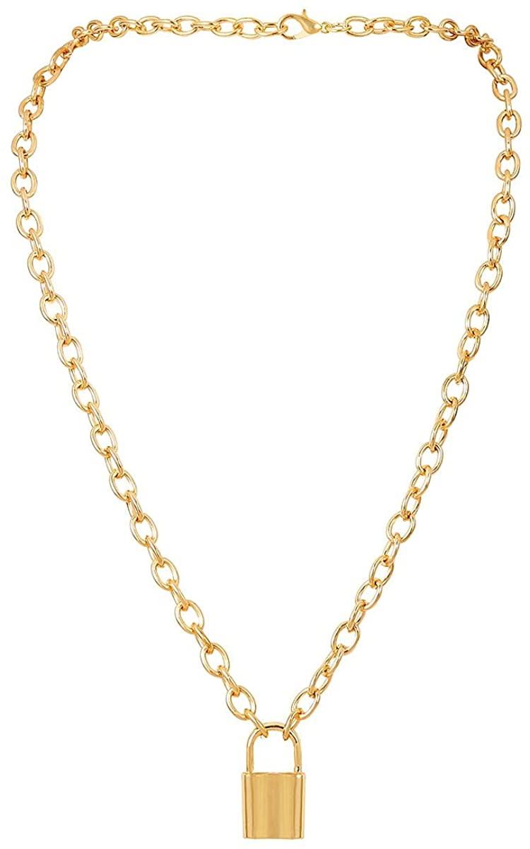 Tiande Lock Pendant Necklace Statement Long Multilayer Punk Hip Hop Chain Choker Y Necklace for Women Girls Men