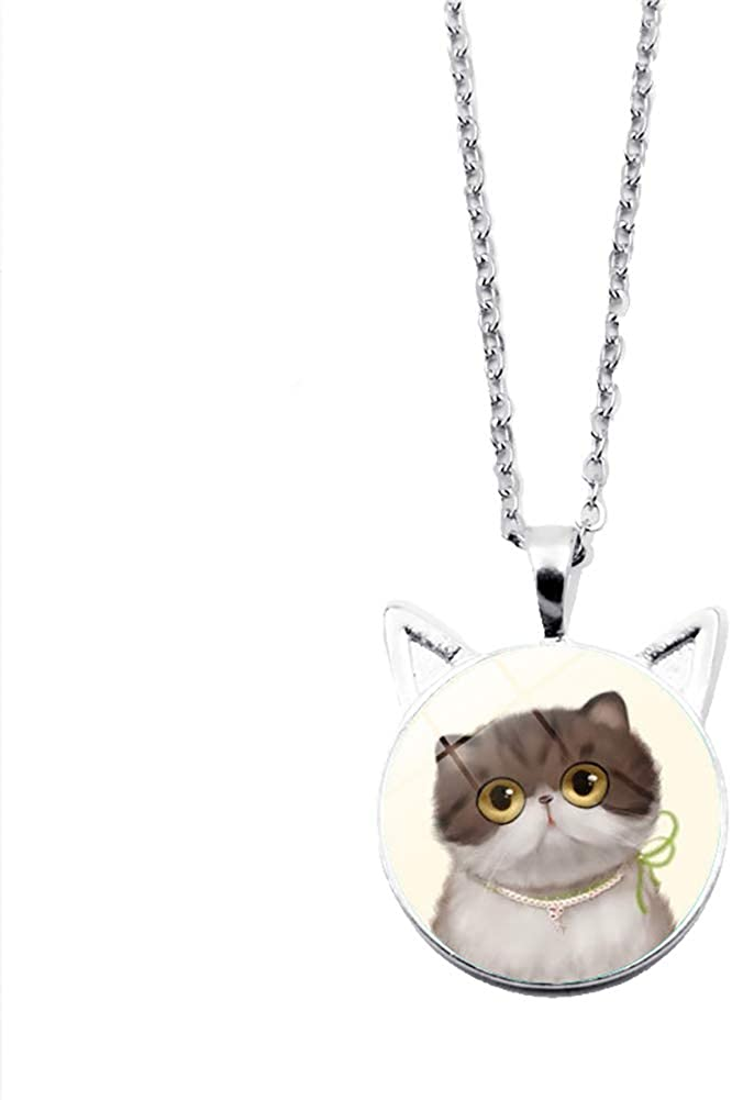 NicSO Cartoon Cat Time Gemstone Necklace Cute Cat Ear Cat Kitty Charm Necklace Sweater Chain
