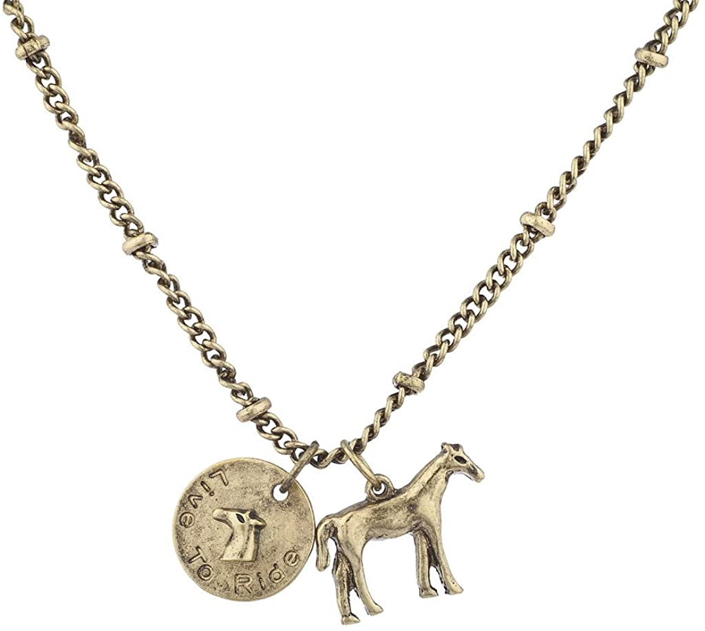 Lux Accessories Live to Ride Horse Pony Charm Necklace