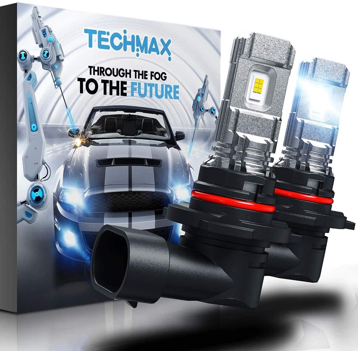 TECHMAX H10 LED Fog Light Bulbs,9145 9140 DRL 6000K Xenon White 2800LM 60W 320°Beam Angle Pack of 2