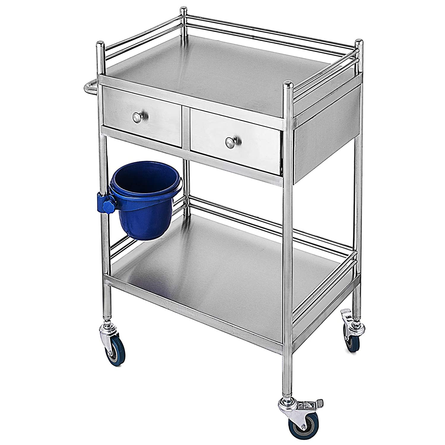 VEVOR Medical Dental Lab Serving Cart,Two-Story lab cart,with Drawers for Medical Equipment and lab Equipment,Use Grade I Stainless Steel