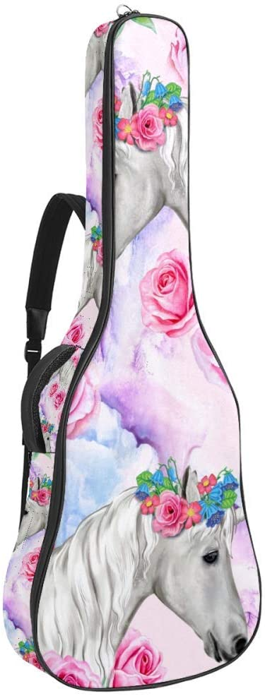 Unicorn Pink Roses White Horses Flower Wreath Guitar Bag Acoustic Guitar Gig Bag for 40 41 42 Inches Guitars