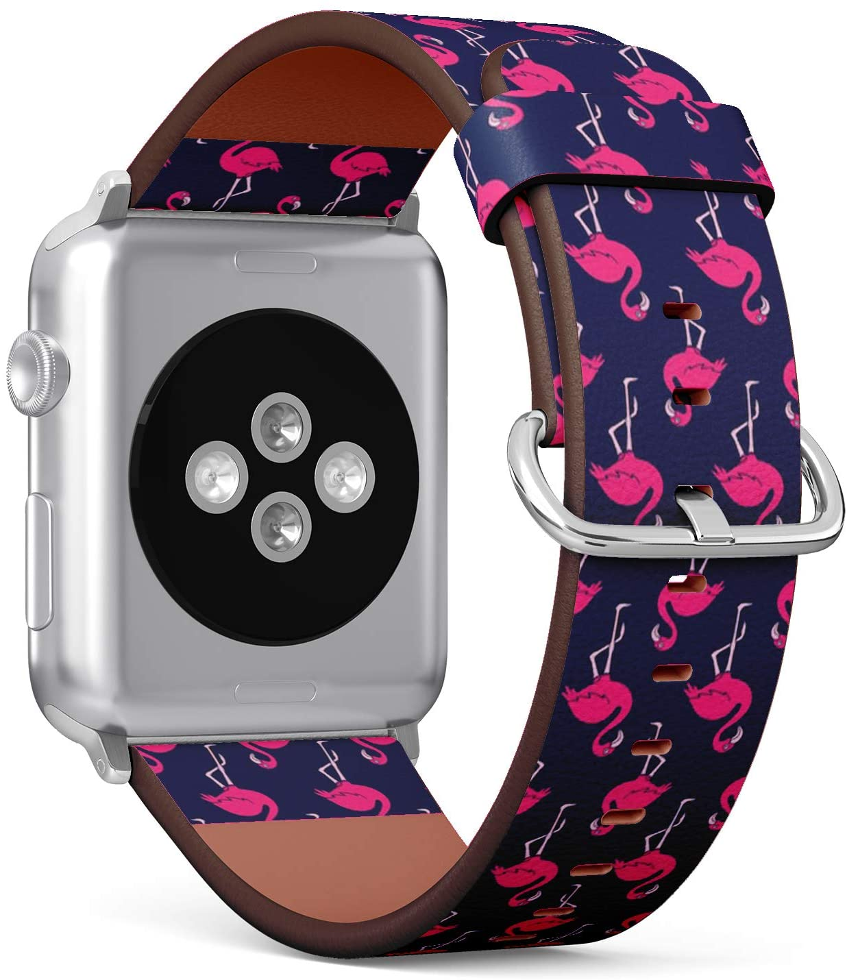 Compatible with Apple Watch Series 5, 4, 3, 2, 1 (Big Version 42/44 mm) Leather Wristband Bracelet Replacement Accessory Band + Adapters - Pink Flamingo