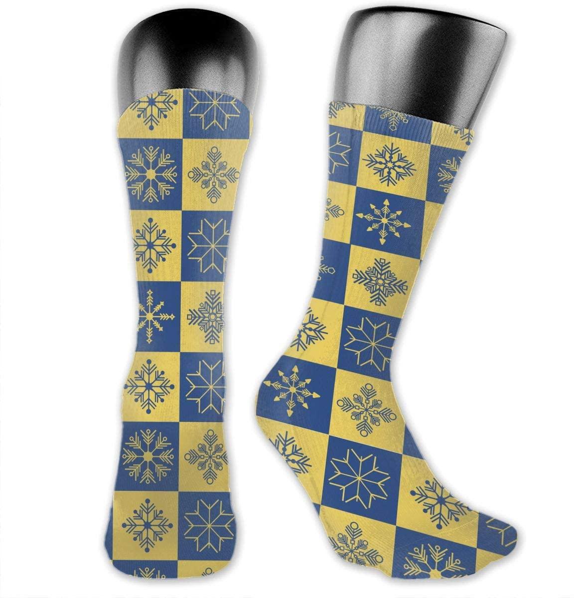 Square Snowflake Unisex Outdoor Long Socks Sport Athletic Crew Socks Stockings