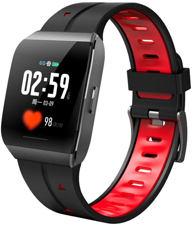 Smart Fitness Tracker, 1.3 Inch Alloy Case IP68 Waterproof Heart Rate Monitor Smart Watch for Men Women Kids Gifts,Red