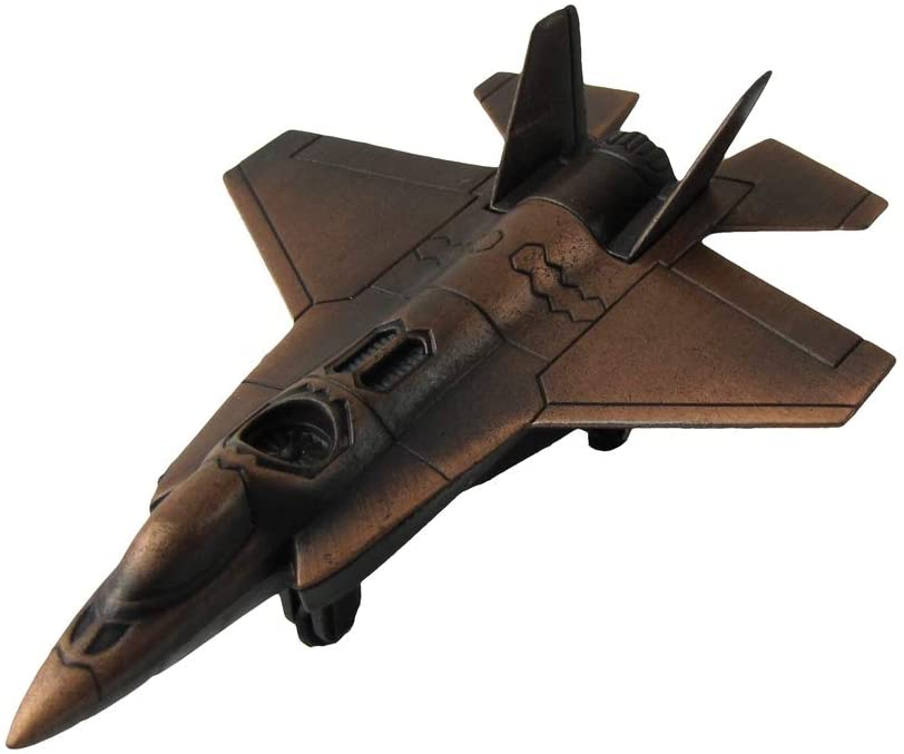 Treasure Gurus Miniature Bronze F-22 Raptor Fighter Jet Diecast Pencil Sharpener USAF Vet Gift